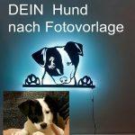 Ihr Hund nach Fotovorlage als LED 3D-Wandbild aus Holz